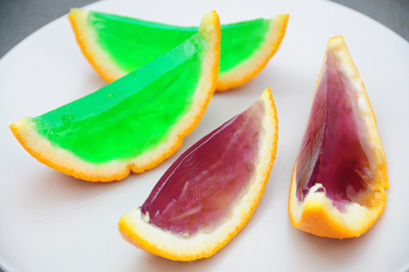 purple and green jello oranges