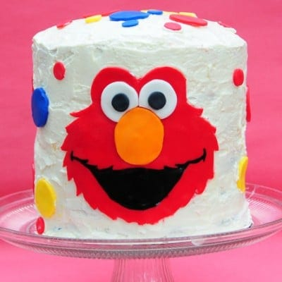 Elmo Birthday Cake With a Rainbow Cake Surprise Inside