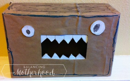 Monster box for all your Valentine's Day cards. Simple to make. via BalancingMotherhood.com