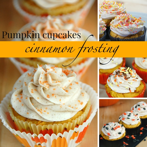 Pumpkin Cupcakes with Cinnamon Cream Cheese Frosting - Balancing ...