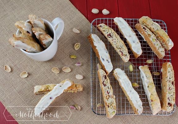 Dried Cherry and Pistachio Biscotti with White Chocolate - Balancing ...