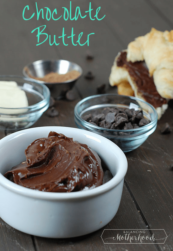 3-ingredient chocolate butter -- decadent for bread for pancakes via BalancingMotherhood.com