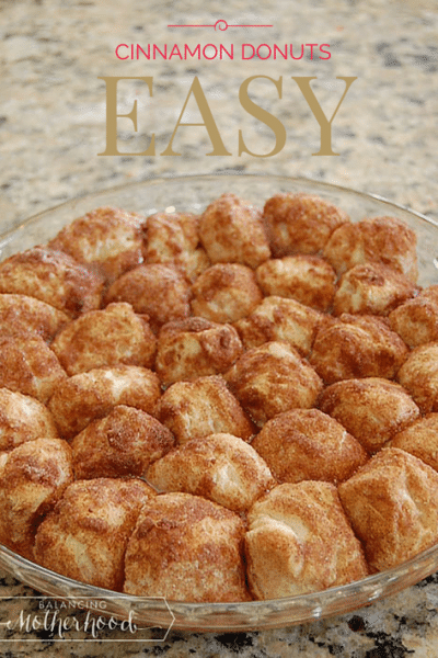 The World's Easiest Cinnamon Donut Holes. No oil. Bake in the oven. via BalancingMotherhood.com