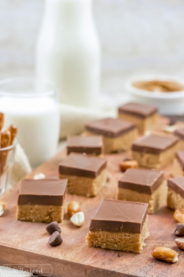 No bake chocolate peanut butter bars.