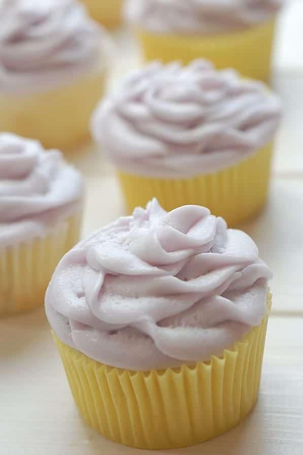 lemon cupcake with lavender buttercream