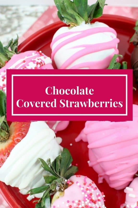 chocolate covered strawberries made with pink, white and dark chocolate!
