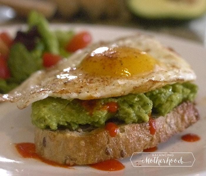 avocado toast with egg and siracha - full recipe