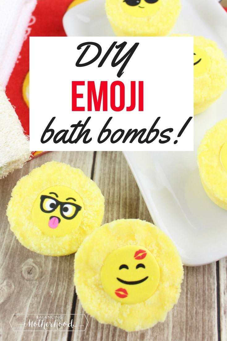 DIY bath bombs - get the ingredient list on how to make these Emoji bath bombs. Great for party favors, stocking stuffers, or teacher gifts!
