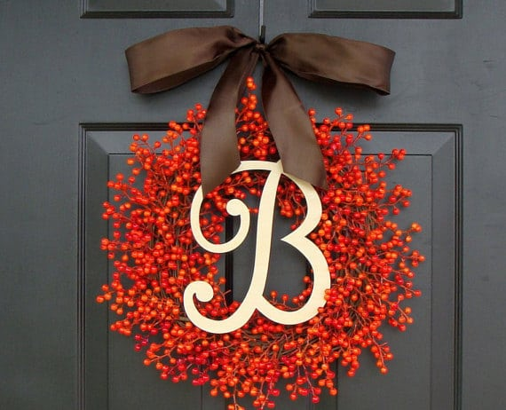 elegant, monogramed fall wreath