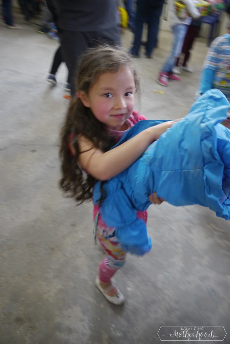 Little girl with her gift