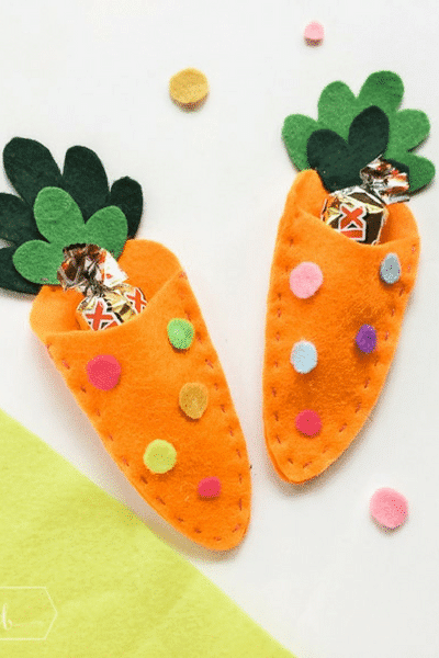 Carrot felt craft candy pouch